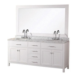 "Design Element - London 72"" Double Sink Vanity Set, Pure White - The 72"" London double-sink vanity in white is elegantly constructed of quality woods. The classic beauty of the white Carrara marble countertop and the contemporary style of the white cabinetry bring a crisp clean look to any bathroom. Seated at the base of the two ceramic sinks are chrome finish pop-up drains designed for easy one-touch draining. A large white frame mirror is included. This beautiful vanity has ample storage which includes two large pull-down shelves four pullout drawers and two soft-closing double-door cabinets all accented with satin nickel hardware."