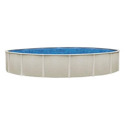 "Sharkline Reprieve 15' x 48"" Round Above Ground Swimming Pool - -Galvanized 48"" Steel Walls with Pearl Frame"