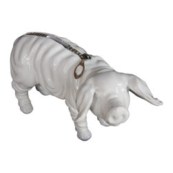 Interior Illusions - Piggy Bank With Zipper - Style your desk or bookshelves with this ceramic piggy bank. Handmade in white ceramic, this piggy bank comes with a removable coin stop and silver zipper coin slot. Pair it with modern decor for a fun, bold feel.
