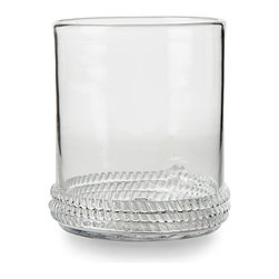 Dean Double Old Fashioned Glass - Charmingly grounded by a coiled-rope base made from the same clear glass as the cylindrical, mouth-blown tumbler it adorns, the Dean Double Old Fashioned glass makes a vivacious addition to your glassware at a nautical-styled beach house or in a dining space where crafted textures are highly valued as an element of decorative personality.