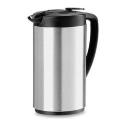 Oggi - Oggi Stainless Steel Oval Carafe - This insulated thermal carafe is the perfect indoor or outdoor beverage server for keeping drinks hot or cold. Coffee or tea remain hot for hours.