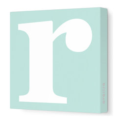 "Avalisa - Letter - Lower Case 'r' Stretched Wall Art, 12"" x 12"", Sea Green - Spell it out loud. These lowercase letters on stretched canvas would look wonderful in a nursery touting your little one's name, but don't stop there; they could work most anywhere in the home you'd like to add some playful text to the walls. Mix and match colors for a truly fun feel or stick to one color for a more uniform look."