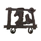 "AJchibp-291 - Cast Iron Horse Cowboy Hat and Boot Double Hook Wall Hanger - Cast iron horse cowboy hat and boot double hook wall hanger. Measures 8"" x 10"". No assembly required."