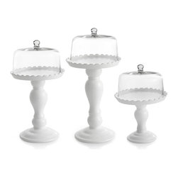None - Earthenware Scalloped Cake Pedestals with Glass Dome Covers (Set of 3) - Display your bakery creations on this pedestal cake plate set from American Atelier. The set includes three earthenware pedestal plates with scalloped edges and three elegant glass domes.