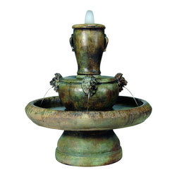 Lion Jug Fountain, Natural - *Please Note: Our color chart is for example purposes only. Monitor settings and how the finish is applied to these outdoor water fountains can vary to what is shown in the color chart.  Actual stone samples of each finish can be purchased to help you make your finish choice.