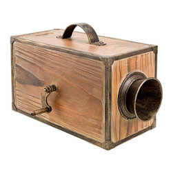 "Wooden Fog Horn Box - The wooden fog horn box measures 7.8"" x 5"" x 5"". This wooden fog horn box has a metal handle on top of the box that makes it very easy to transport. It is made for decorative purposes only. The fog horn is not functional. It will add a definite nautical touch to wherever it is placed and is a must have for those who appreciate high quality nautical decor. It makes a great gift, impressive decoration and will be admired by all those who love the sea."