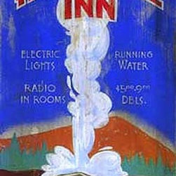 Red Horse Signs - Retro Vintage Sign Old Faithful Inn, Yellowstone Wooden Signs - Retro  Vintage  Sign  -  Old  Faithful  Inn,  Yellowstone  Wooden  Signs          Celebrate  the  history  of  the  Old  Faithful  Inn  with  this  retro  vintage  sign  printed  directly  to  distressed  wood.  Choose  from  11x30  or  14x42  size  for  a  truly  unique  presentation  in  your  rustic  lodge,  cabin  or  camp.  If  Yellowstone  National  Park  has  a  special  place  in  your  heart,  this  sign  could  become  a  family  heirloom.  Personalize  it  with  your  own  custom  wording  for  a  small  fee.  Unaltered,  this  nostalgic  replica  reads,  Visit  Old  Faithful  Inn.  Electric  lights,  running  water,  radio  in  rooms,  $5.00  -  9.00  dbls.  Yellowstone  National  Park.  Please  allow  up  to  three  weeks  for  delivery.          Product  Specifications:                  Vintage  Park  Sign              11x30              Printed  directly  to  distressed  wood
