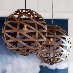 PB Teen - Austen Wood Veneer Pendant - Made of flexible wood veneer, these textural pendant lamps add the look of wood without the weight. How perfect would these look in a dining room or breakfast nook?
