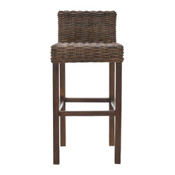 Safavieh - Cypress Bar Stool - Equally at home in country, coastal or traditional interiors, the Cypress Barstool offers a taste of the islands with its rich cappuccino brown woven crocodile rattan seat and back. With its sturdy Mango wood straight-legged charm, the Cypress will provide functional fashion for your indoor seating at bar, counter or pub table. No assembly required.