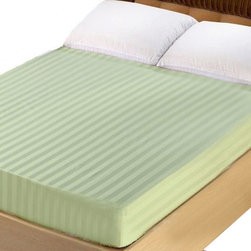 Lasin Bedding - Lasin Bedding King 100% Cotton 300TC Fitted Sheet - Stripe, Green - Made of 100% high quality cotton, our 300 thread count fitted sheets are soft and comfortable, just the way you need for a good night sleep. Lasin Bedding Inc., formerly The Best Bedding Inc., is passionate to offer the highest quality elegant luxurious silk at the most reasonable price for all customers. The Best Bedding Inc. originally started in 2005, tailoring to the Canadian market; our first headquarter was in Richmond, B.C Canada.