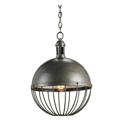 "Currey & Company - Currey & Company Verne Pendant CC-9886 - The Verne Pendant design style is reminiscent of the head gear worn by Captain Nemo on the Nautilus submarine in Jules Verne's 20, 000 Leagues Under the Sea. Industrial -styled products mix well in many interiors and bring to the home environment a sense of ""back-to- the-basics.? Repurposing and authenticity are essential to the industrial chic trend."