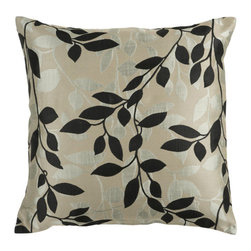 Surya Rugs - Feather Gray Caviar and Light Gray Leaf Pattern 22 x 22 Pillow - Covered in a subtle leaf design this pillow brings a little something extra to your room. Colors of black and beige accent this decorative pillow. This pillow contains a poly fill and a zipper closure. Add this 22 x 22 pillow to your collection today.  - Includes one poly-fiber filled insert and one pillow cover.   - Pillow cover material: 100% Polyester Surya Rugs - HH061-2222P