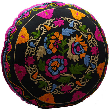 Modelli Creations - Black Bouqet Round Floor Pillow - Crewel to be kind. This plush floor pillow with hand-embroidered crewelwork offers a more comfortable alternative to sitting on the ground while playing games with the kids, watching movies or doing extensive craft work.