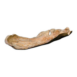 Uttermost - Uttermost Teak Leaf Bowl 17085 - Made of natural teak wood. Each piece is handcrafted making it unique. Sizes will various. Cracks and variations in the grain are normal.