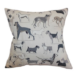 "The Pillow Collection - Wonan Dogs Print Pillow Grey Stone - Animal lovers will surely swoon over this adorable throw pillow. This cute accent pillow features different breeds of dogs printed on a grey stone background. This decor pillow is a perfect gift for those who love dogs. This 18"" pillow is a lovely home accessory that you can place on top of your bed, sofa or chair. This contemporary pillow is made from 55% cotton and 45% linen fabric. Hidden zipper closure for easy cover removal.  Knife edge finish on all four sides.  Reversible pillow with the same fabric on the back side.  Spot cleaning suggested."