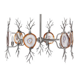 Kathy Kuo Home - Branch Satin Nickel Natural Agate Stone 6 Light Chandelier - As cool as ice, this utterly intriguing chandelier exudes pure organic beauty wherever it hangs. It's the true definition of a statement piece — the slabs of agate held aloft in twining branches look absolutely amazing when lit from behind.