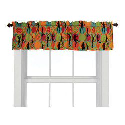 Flower Power Valance - Teen girls will love this retro 70's-style print window valance with daisies and silhouettes of girls dancing in hot pink, aqua, orange and lime green.