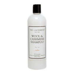 Wool and Cashmere Shampoo - 16 oz - For those hard-to-care-for but precious imported throws, favorite cashmere sweaters, and other delicate shrinkage-prone knits, Wool and Cashmere Shampoo reduces the worry involved in caring for the luxury fabrics you use to dress beautifully and ornament your home elegantly.  Biodegradable and allergen-free, this expertly-formulated luxury laundry product works for both hand-washing and machine-washing.