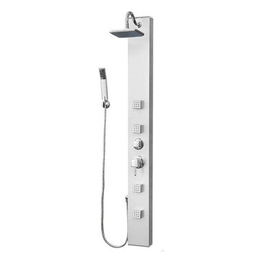 Aqua - AQUA Shower Panel Massage Jets Hand Shower Rain Shower 7105 - This high end bathroom shower unit is for people with great taste. Designed by Germany and manufactured by German Machinery. - 4 Massage Jets - 1 Multi Position Hand Shower 1 Multi Position Overhead Shower - Wall Installation - Easy to Install in all Bathrooms - Easy clean up Every thing you need comes with this unit.