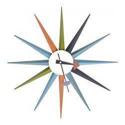 Mod Made Furniture - Mod Made Star Clock in Multicolor - Star Clock. This Star Clock with its colorful appearance has a stunning and elegant design. The Starburst look brings a retro look to any home or business space.
