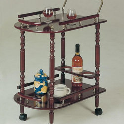 Coaster - Cherry Traditional Serving Cart - Cherry finish serving cart with brass accents.