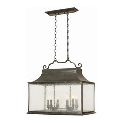 World Imports - Revere 6 Light Large Outdoor Island Fixture i - Manufacturer SKU: WI900506. Bulbs not included. Water Seedy glass. Revere Collection. 6 Lights. Power: 60w. Type of bulb: Candelabra. Flemish finish. 6 ft. Double Chain. Canopy 17 in. W x 6.75 in. H. 105 in. W x 24.5 in. D x 21.25 in. H (69 lbs.)