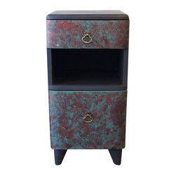 "Used Art Deco Painted Side Table or Nightstand - Seller says: ""We hand painted this nightstand to give it texture and color.  Slate black with turquoise and copper accents.  Original hardware.  Single drawer and bottom pull-down door.""     This nightstand is perfect for a small space.  Two large drawers sandwich an open space that can be used to display books and vintage treasures."
