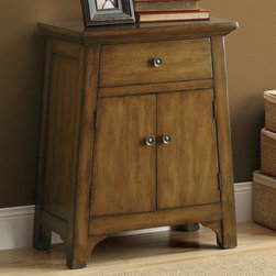 Monarch - Dark Brown Distressed Veneer Transitional Bombay Chest - Make a warm addition to your home with this traditional dark brown finished bombay chest featuring a large storage drawer and 2 wide doors. Round antique gold pulls give it a nice sophistication.