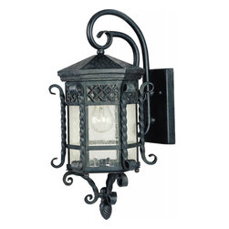 Joshua Marshal - One Light Country Forge Seedy Glass Wall Lantern - One Light Country Forge Seedy Glass Wall Lantern