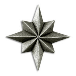 "Compliments Accessories - Vega Tile - Faceted 1x1"" Geometric Star tile in a Pewter finish"