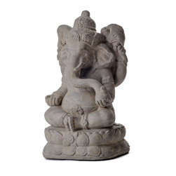 Repose Home - Powerful Ganesha - Ganesha is known as the remover of obstacles and master of new beginnings. His iconic elephant head symbolizes wisdom and understanding. Place Ganesha's powerful presence anywhere in your home to bring success to your endeavors. This statue features Ganesha sitting atop a lotus, indulging in his sweets bowl with his trunk. Cast in elegant, stonewashed volcanic ash and weatherproofed for indoor or outdoor use.