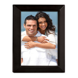 Lawrence Frames - Black Wood 8x10 Picture Frame - Estero Collection - Gorgeous black wood picture frame with inner detail.  High quality black wood backing with an easel for vertical or horizontal table top display, and hangers for vertical or horizontal wall mounting.    Hand finished 8x10 wood picture frame is made with exceptional workmanship and comes individually boxed.