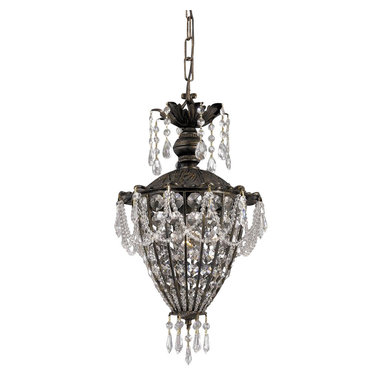 Crystorama - Single Lighted Wrought Iron Crystal Mini Chandelier - Adorned with clear hand polished crystals.