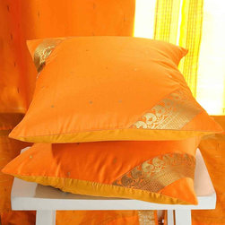 Indian Selections - Set of 2 Pumpkin Decorative Handcrafted Sari Cushion Cover, 22x22 inches - 6 Sizes available
