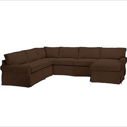 """PB Basic Left 4-Piece Chaise Sectional Slipcover, Brushed Canvas Espresso - Designed exclusively for our PB Basic Sectional, these easy-care slipcovers have a casual drape, retain their smooth fit, and remove easily for cleaning. Select """"Living Room"""" in our {{link path='http://potterybarn.icovia.com/icovia.aspx' class='popup' width='900' height='700'}}Room Planner{{/link}} to select a configuration that's ideal for your space. This item can also be customized with your choice of over {{link path='pages/popups/fab_leather_popup.html' class='popup' width='720' height='800'}}80 custom fabrics and colors{{/link}}. For details and pricing on custom fabrics, please call us at 1.800.840.3658 or click Live Help. All slipcover fabrics are hand selected for softness, quality and durability. {{link path='pages/popups/sectionalsheet.html' class='popup' width='720' height='800'}}Left-arm or right-arm configuration{{/link}} is determined by the location of the arm on the love seat as you face the piece. This is a special-order item and ships directly from the manufacturer. To view our order and return policy, click on the Shipping Info tab above."""