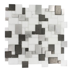 "GlassTileStore - Breeze Steel Ice Piazza Pattern - Breeze Steel Ice Piazza Pattern Glass Tiles          This distinctive pattern is made of various sized pieces of frosted and polished glass with brushed stainless and black steel. Each piece fits into the next like a perfect puzzle. It's stunning design and unique pattern of squares will bring a modern and contemporary ambiance to the room. The elegant, easy to clean Breeze Steel Ice Piazza tile's frosted and polished glass with edgy brushed stainless and black steel makes it an ideal choice!          Chip Size: Random   Color: Stainless Steel Silver, Gun metal and Super White   Material: Glass and Metal   Finish: Polished, Frosted and Brushed   Sold by the Sheet - each sheet measures 12""x12"" (1 sq. ft.)   Thickness: 8mm   Please note each lot may vary from the next.            - Glass Tile -"