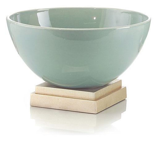 Sea Green Ceramic Bowl on Base - Present a deep, flawless vessel of ocean celadon on a silver-leafed pedestal in your entryway, and know that whenever a guest enters your home, this objet d'art will take their breath away.  The Sea Green Ceramic Bowl on Base, which coordinates with the other Sea Green Ceramic objects for easy assembly of gallery-quality displays, looks like a ritual bowl in traditional alcoves and like the piece of modern art it is on a transitional coffee table.