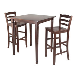 Winsome Wood - Winsome Wood Kingsgate 3 Piece High/Pub Dining Table w/ Ladder Back High Chairs - 3 Piece High/Pub Dining Table w/ Ladder Back High Chairs belongs to Kingsgate Collection by Winsome Wood 3pc Set includes Kingsgate High Table features grooved detailing on four legs and two ladder back chairs Constructed from Solid wood in Antique Walnut Finish. Perfect for any kitchen. Pub Table (1), Stool (2)