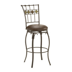 Hillsdale Furniture - Hillsdale Lakeview Swivel 24 Inch Counter Height Stool - Rustic textures and colors combine to create Hillsdale Furniture's Lakeview barstools. Boasting a striking fusion of coppery brown metal with either a medium oak wood accent or a dynamic slate diamond motif in the stool back. Covered in versatile and easy to maintain medium brown leather seat, these stools are composed of heavy gauge tubular steel, feature a 360 degree swivel mechanism, and are available in bar or counter height.