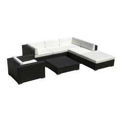 MangoHome - Outdoor Patio Sofa Sectional All Weather Wicker Furniture 7pc Resin Couch Set - Outdoor Patio Sofa Sectional All Weather Wicker Furniture 7pc Resin Couch Set