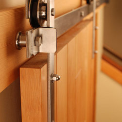 Stainless Steel Barn Door Hardware - Our Stainless Steel Flat Track sliding hardware is a great modern look for your home. Barn door hardware is commonly used on interior spaces, however, our stainless rolling door hardware is also suitable for exterior doors. Commonly used on bedroom doors, pantry doors, family room dividers, kitchen doors and more! More info: