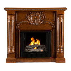 SEI - Romano Gel Fuel Fireplace - Salem Antique - Hand-carved columns and a center medallion pair with a Salem antique oak finish in this gel fuel fireplace that exudes character and style. To top it off, this fireplace requires no electrician or contractor for installation, allowing for instant remodeling without the usual mess or expenses. This Victorian-esque fireplace features striking hand-carved elements, including classic columns and a large crest. The splendid details of the design make this fireplace a timeless addition to your home. FireGlo Gel Fuel snaps and crackles like real wood for the perfect fireplace experience; replace the gel fuel with decorative pillar candles for year round enjoyment. Convenience and ease of assembly are just two of the reasons why this fireplace is perfect for your home. The ornate, elegant style of this fireplace works well in traditional and transitional homes. This handsome fireplace is great for the living room and bedroom, and even adds a warm, romantic touch to the dining room or home office. Let this portable fireplace give your home a more welcoming and enjoyable atmosphere.