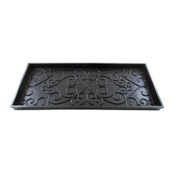 Achla - Boot Tray - Keep your home nice and neat and store your muddy and wet shoes in our boot tray. The boot tray is made of heavy rubber and features decorative scrollwork on the inside. This versatile tray can also be used in your trunk as a great way to transport plants from the garden center.. Great for in-home or in your trunk. Made of heavy rubber. 14 in. D x 34 in. W x 2 in. H