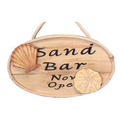 """Handcrafted Nautical Decor - Wooden Sand Bar Now Open Sign 15"""" - Wood Beach Sign - This Wooden San Bar Now Open Sign 15"""" is a great addition to a beach themed home. Perfect for welcoming friends and family, or to advertise a festive party at your beach house, bar, or restaurant, this sign is sure to brighten your day. Place this beach sign up wherever you may choose, and enjoy its wonderful style and the delightful beach atmosphere it brings."""