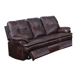 ACME - Acme Zamora Sofa with Motion in Brown - The Zamora durable and comfortable polished microfiber motion set features padded arms, padded seat and tufted back. The sofa, loveseat, and recliner that will bring back the sleek style to your living room environment.