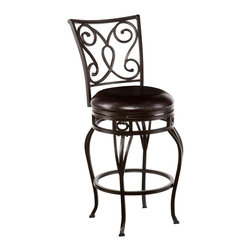 SEI - Hanover Swivel Counter Stool - Improve your home with stylish convenience. The elegant scrollwork and curved legs of this counter stool create a refined, contemporary look. A powder-coated, hammered bronze finish and durable steel frame deliver lasting quality. It features counter height seating, a cozy foam seat covered in rich dark brown vinyl, and a scrolled backrest. A full 360 degree swivel and footrest ring provide comfort and ease. The curvaceous form and attractive finish coordinate with traditional to contemporary decor styles. Ideal for the kitchen, breakfast nook, island, or dining area.