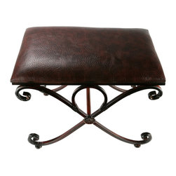 """Original Tuscan Leather and Metal 23"""" Bench - Our rich brown faux leather covered Tuscan X leg ottoman has a modern and sleek display to the fabric. This bench encompasses several different tones of brown within the leather coat of the cushion. The Tuscan framework of the iron looking textured base gives it an even more elegant look to it."""