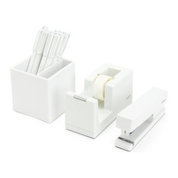 Poppin - Starter Office Set, White - Starter Set includes: Stapler with free Staples, Tape Dispenser with free Tape, Box of 12 Signature Pens, and Pen Cup