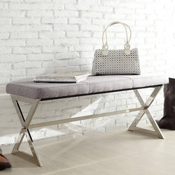 Inspire Q - INSPIRE Q Southport Grey Linen 40-inch Metal Bench - Provide an extra sitting or reading space anywhere in your home with this chrome X-base bench. This modern bench features a trestle-style base and a cushioned seat to give both security and comfort. This gray furniture piece can complement any decor.