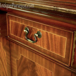 Four Door Antique Reproduction China Cabinet (LH 4 Door) - Flame mahogany field in the drawers with mahogany banding.